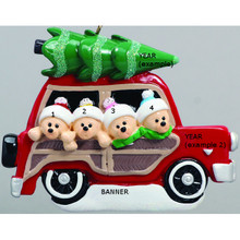 Rudolph & Me Woody Wagon Family of 4 Personalized Ornament #1202-4