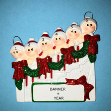 Rudolph & Me Staircase Family of 6 Personalized Ornament #1208-6