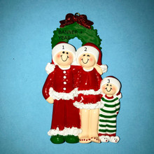 Rudolph & Me Christmas Eve Family of 3 Personalized Ornament #1611-3