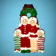 Rudolph & Me Christmas Eve Family of 4 Personalized Ornament #1611-4