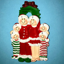 Rudolph & Me Christmas Eve Family of 6 Personalized Ornament #1611-6