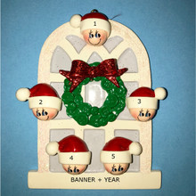 Rudolph & Me Christmas Window Family of 5 Personalized Ornament #903-5