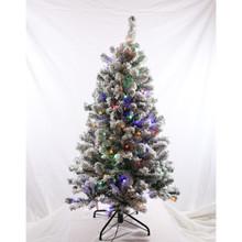 4.5ft Pre-Lit Flocked Grand Dakota Fir Tree in Dual Color Changing
