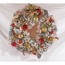 30in Pre-Lit Flocked Fairfield Wreath in Warm White