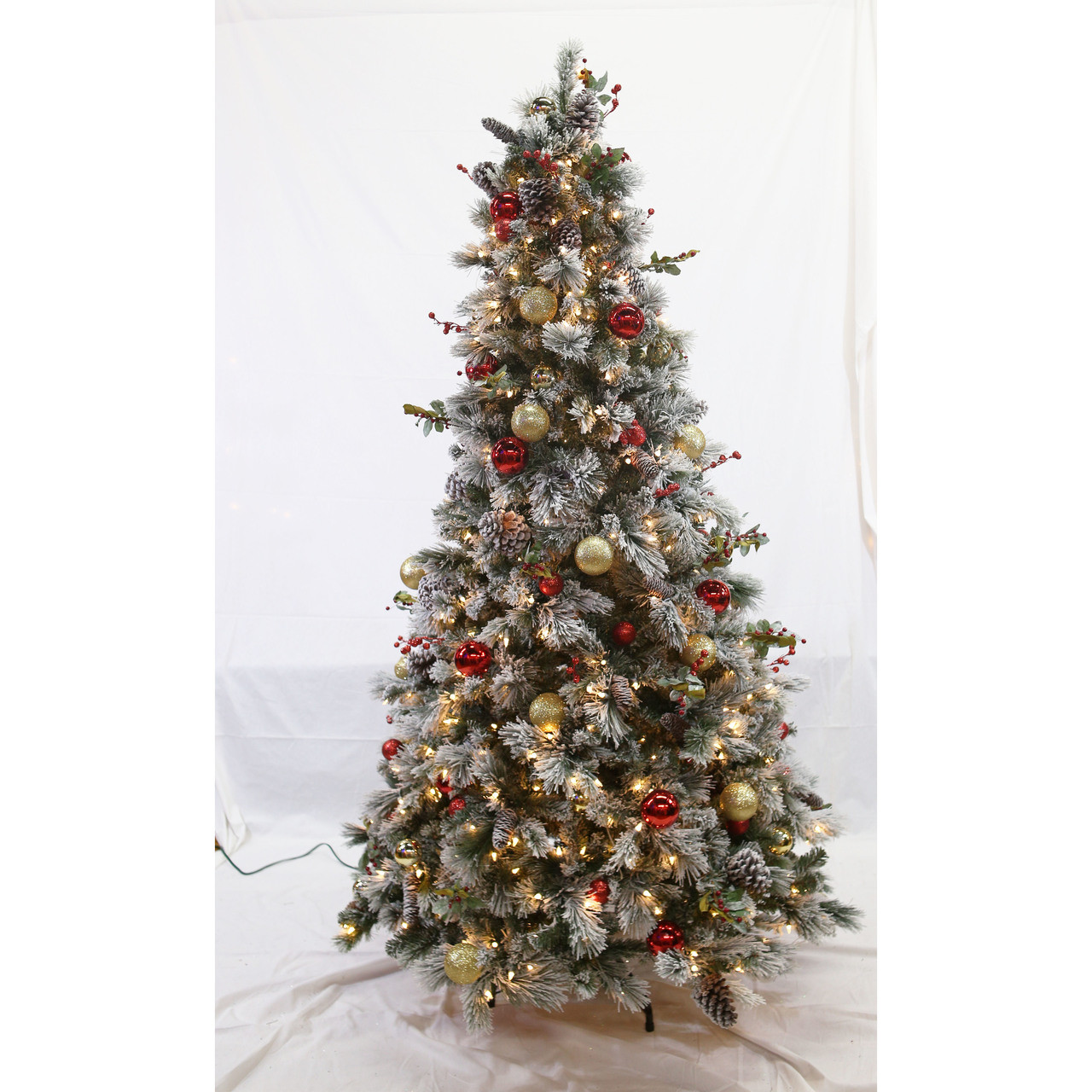 7ft Pre Lit Flocked Fairfield Tree In Clear