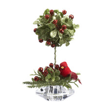 Kissing Krystals Teeny Cardinal Mistletoe Topiary Tree #KK384