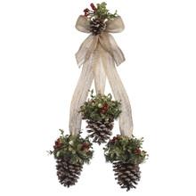Kissing Krystals Mistletoe Snow Pinecone Cluster #KK416