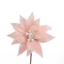 Kurt Adler Millennial Pink Fur Poinsettia #C0410
