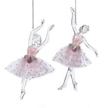 Kurt Adler Clear & Pink Angel Ballerina Ornament, Set of 2 #D3422