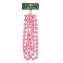 Kurt Adler 6ft Pearlized Pink Pom Pom Garland #H2057