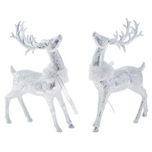 RAZ Glittered Deer with Fur Collar #3800506