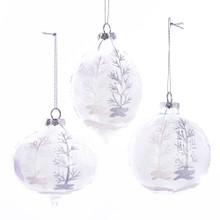 Kurt Adler Glass Feather Ball Ornament #D3148
