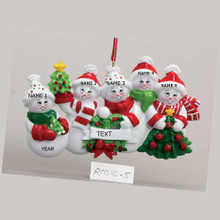 Rudolph & Me Snow Family of 5 Personalized Ornament #RM10-5