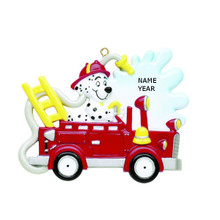 Rudolph & Me Fire Truck Dog Personalized Ornament #RM260