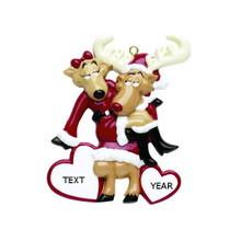 Rudolph & Me Santa Deer Couple Personalized Ornament #RM310