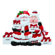 Rudolph & Me Santa & Mrs Claus Family of 4 Personalized Ornament #RM45-4