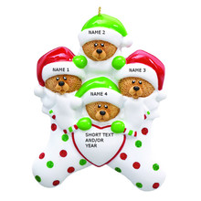 Rudolph & Me Bear in Stockings Family of 4 Personalized Ornament #RM7-4