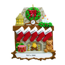 Rudolph & Me Fireplace Stockings Family of 5 Personalized Ornament #RM9-5