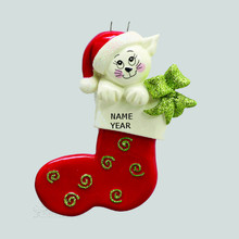 Rudolph & Me Christmas Cat Stocking Personalized Ornament #RM951