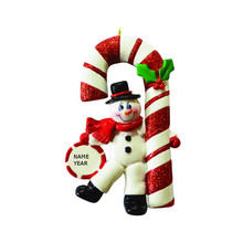 Rudolph & Me Candy Cane Snowman Personalized Ornament #RM953