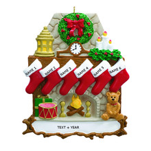 Rudolph & Me Fireplace Stocking Family of 6 Personalized Ornament #RM9-6