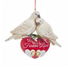 Kurt Adler Wedding Doves Birchberries Ornament #D3409