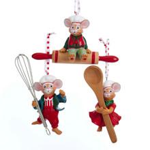 Kurt Adler Mouse with Kitchen Utensil Ornament #H5143