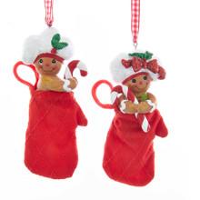 Kurt Adler Gingerbread Boy & Girl Oven Mitt Ornament #H5519