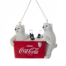 Kurt Adler Polar Bears with Coke Cooler Ornament #CC2171