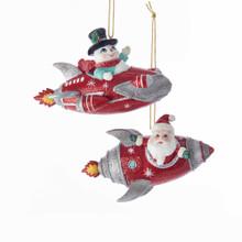Kurt Adler Mid Century Santa & Snowman Rocket Ornament #C7663