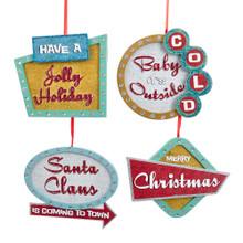 Kurt Adler Mid Century Christmas Sign Ornament #G0145
