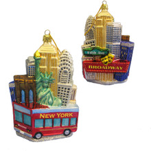 Kurt Adler NYC Cityscape Red Tour Bus Ornament #C4170