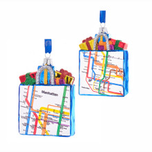 Kurt Adler Manhattan Gift Bag Glass Ornament #MTA4112