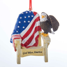 Kurt Adler Adirondack Chair with Eagle & Flag Ornament #A1793