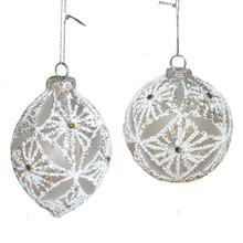 Kurt Adler White Pattern Ball Ornament #D3189