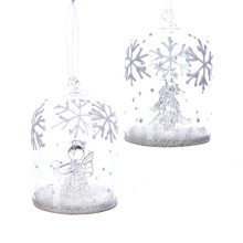 Kurt Adler Glass Snowflake Cloche Ornament #G0123