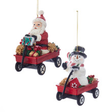 Kurt Adler Retro Santa & Snowman in Wagon Ornament #C7668