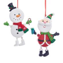Kurt Adler Round Santa & Snowman Ornament #D3396
