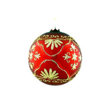 Red & Gold Fleur De Lis Glass Ball Ornament, 4-Pack #65852670000