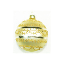 Gold Glitter Decorated Glass Ball Ornament, 4-Pack #65934670000