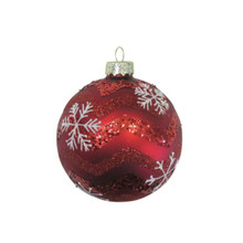Red with Snowflakes Glass Ball Ornament, 4-Pack #66007670000