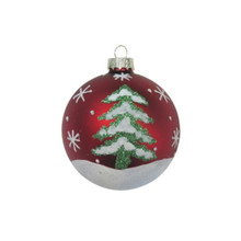 Red Snowy Christmas Tree Glass Ball Ornament, 4-Pack #66028670000