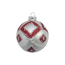 Red & White Glittered Glass Ball Ornament, 4-Pack #66036670000