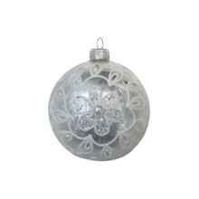 Brushed Ivory with Pearls Glass Ball Ornament, 4-Pack #66044670000