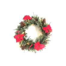 30in LED Decorated Wreath with Poinsettias #75710300000