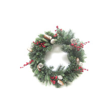 24in LED Decorated Wreath with Berries & Pinecones #75720240000