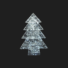 29in LED Silver Wire Wrapped Metal 3D Tree in Cool White #90529280000