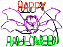 Neon Light Glow Happy Halloween Sign