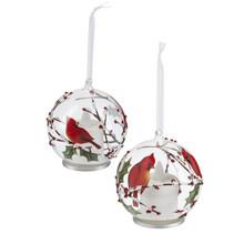 Kissing Krystal Cardinal LED Ornament #LLX1086