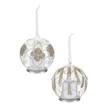 Kissing Krystal Glass Ornament with Pearls #LLX1155